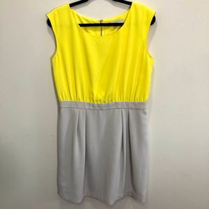 Loft Yellow & Gray Color Block Sheath Dress 10